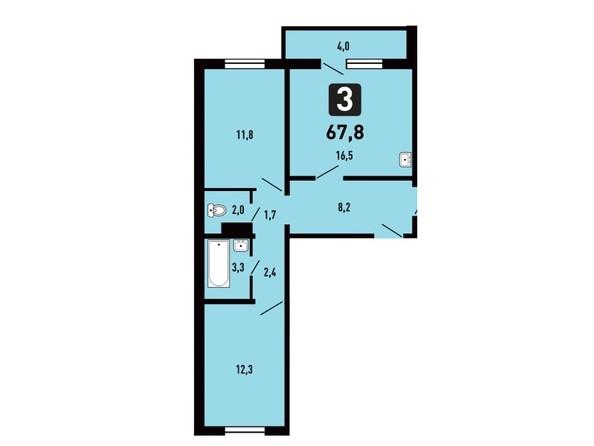 Планировка 3-комн 67,8 м²