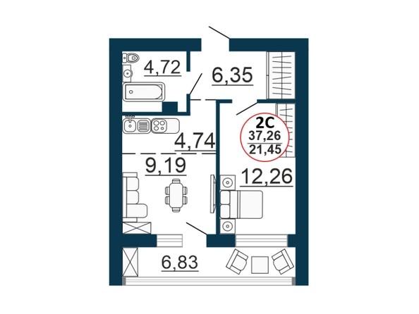 Планировка 2-комн 36,88 - 37,26 м²