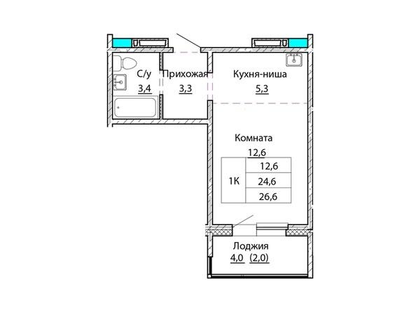 Планировки Жилой комплекс КОСМОНАВТЫ, Б/С 1 - Планировка однокомнатной квартиры 26,6 кв.м