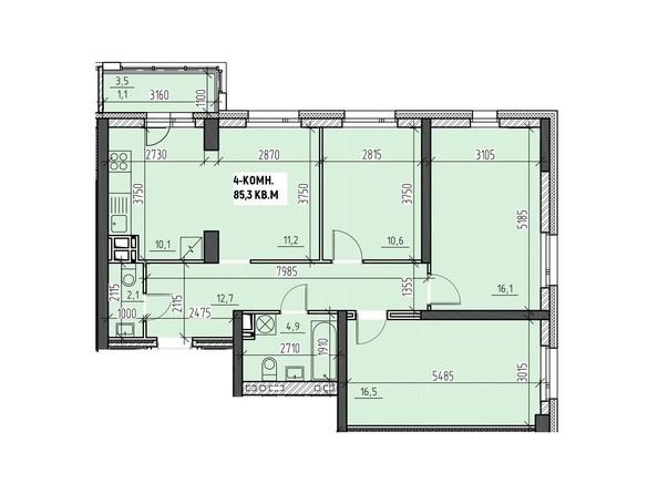 Планировки Жилой комплекс НА ВЫСОТЕ, 2 этап - Планировка четырехкомнатной квартиры 85,3 кв.м