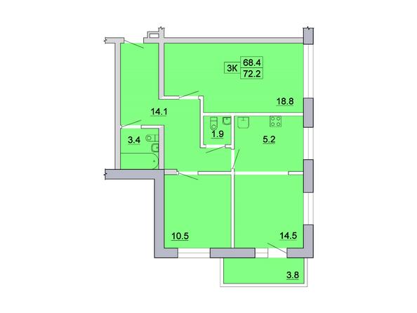 Планировка 3-комн 72,2 м²
