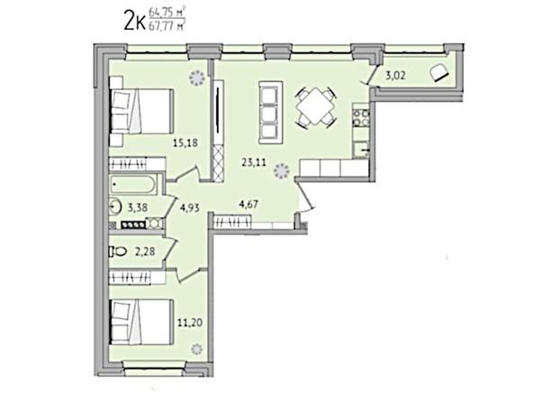 2-комнатная 67,77 кв.м