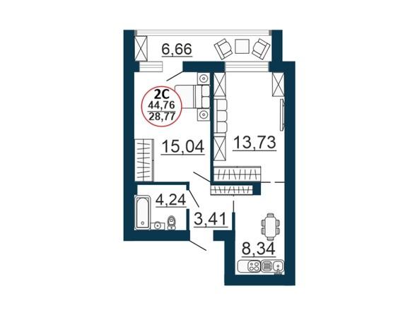 Планировка 2-комн 44,76 м²