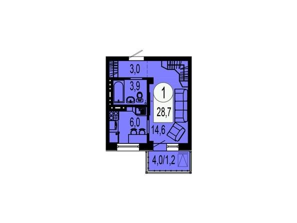 Планировка однокомнатной квартиры 28,7 кв.м