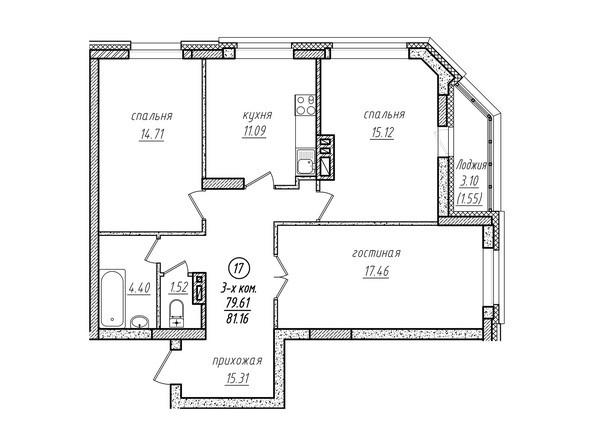 3-комнатная 81.16 кв.м