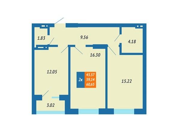 Планировка 2-комн 59,14 - 60,55 м²