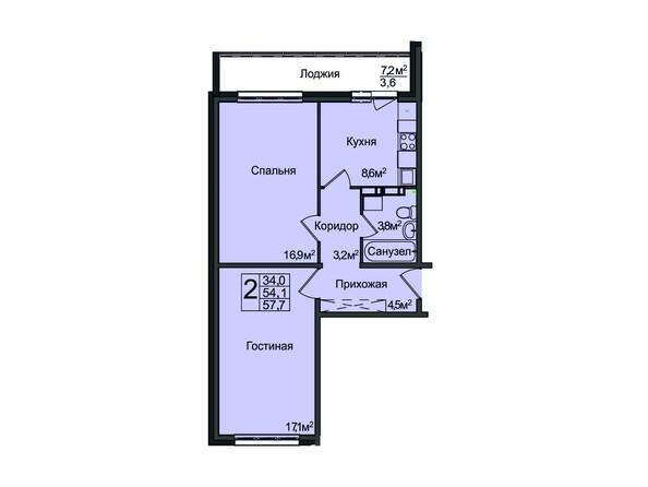 Планировка 2-комнатной квартиры 57,7