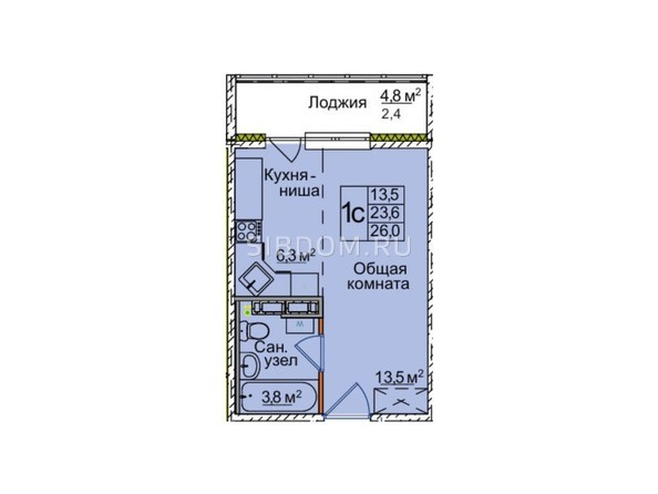 Планировки ВОСТОЧНЫЙ, 85/1а - 1-комнатная 26 кв.м