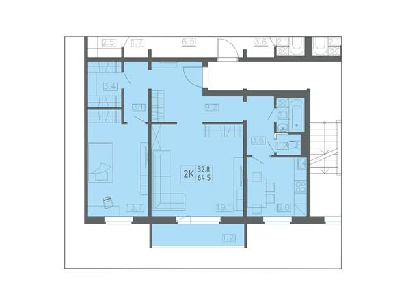 Планировка двухкомнатной квартиры 64,5 кв.м