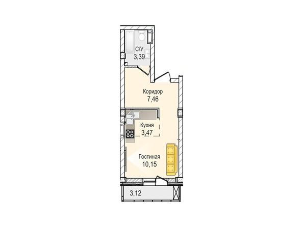 Планировки Жилой комплекс КрымSky, дом 8 - 1-комнатная 24,47 кв.м