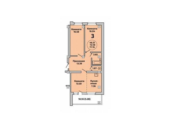 Планировки Жилой комплекс РОДНИКИ, дом 451 - Планировка трехкомнатной квартиры 77,76 кв.м