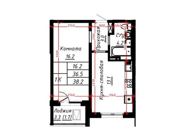 1-комнатная 38,2 кв.м