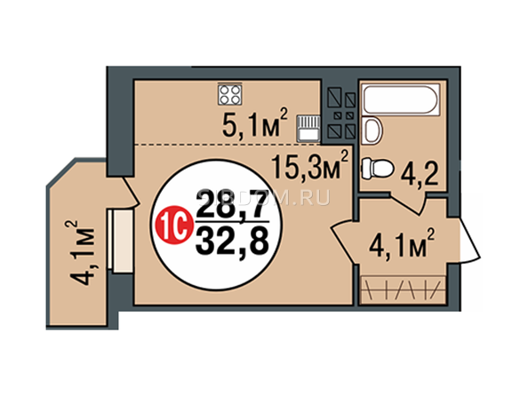 Планировки Жилой комплекс ПОКРОВСКИЙ, б/с 3, 4, 5 - Планировка однокомнатной квартиры 32,8 кв.м