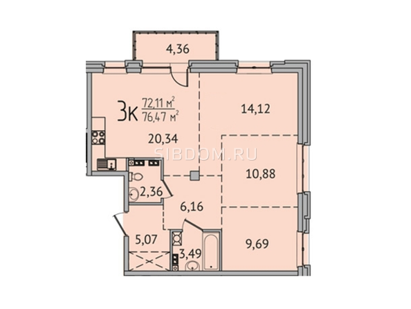 3-комнатная 76,35 кв.м