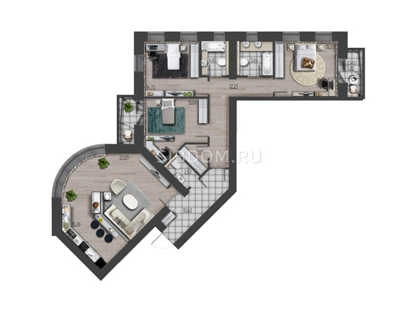 Планировки Жилой комплекс ПРЕОБРАЖЕНСКИЙ, дом 9 - 4-комнатная 126,80 кв.м