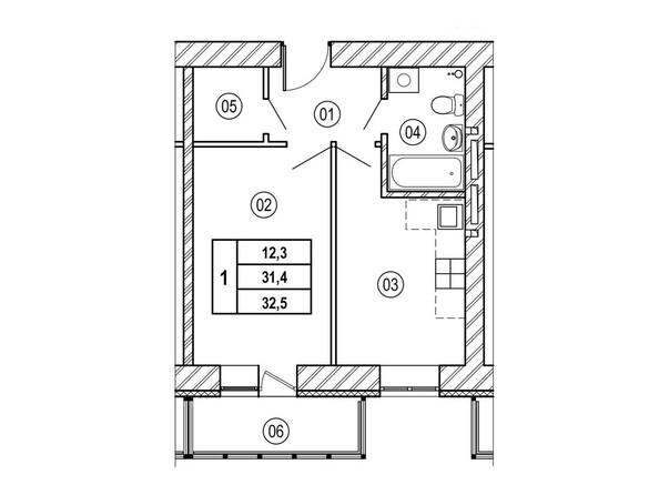 Планировки ВЕРХНИЙ БУЛЬВАР, дом 3, б/с «В», «Г» - Планировка однокомнатной квартиры 32,5 кв.м