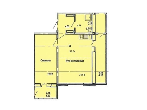 Планировка 2-комн 55,74 м²