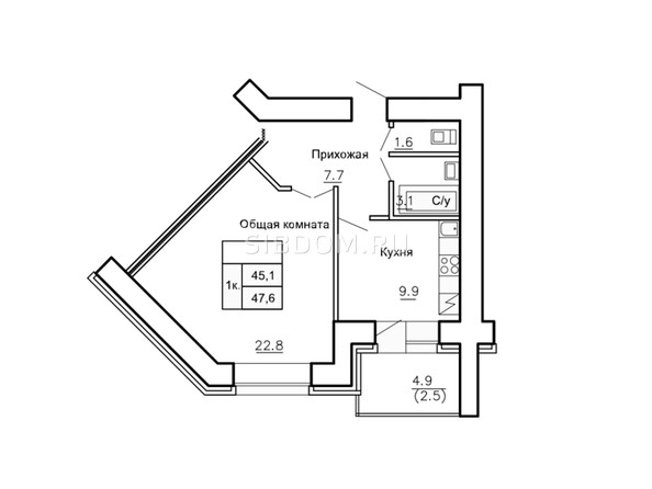 Планировки Жилой комплекс НОВАЯ ПРИСТАНЬ, дом 4 - Планировка однокомнатной квартиры 47,6 кв.м