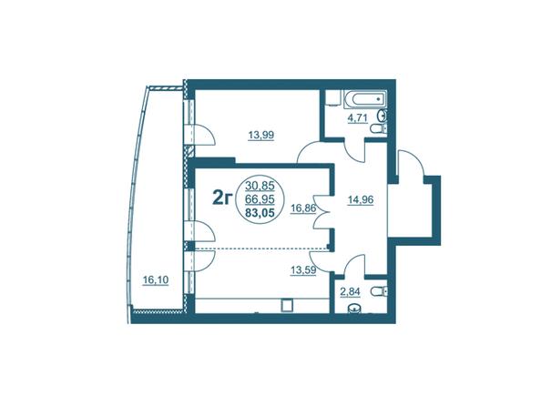 Планировки Жилой комплекс ФЛОТИЛИЯ - 2-комнатная 83,05 кв.м блок А
