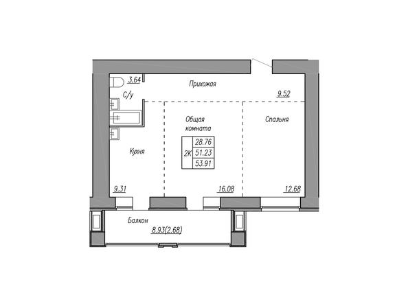 Планировки МАЯКОВСКИЙ - 2-комнатная 53,91 кв.м.