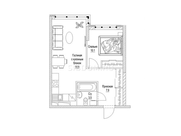1-комнатная 42.7 кв.м