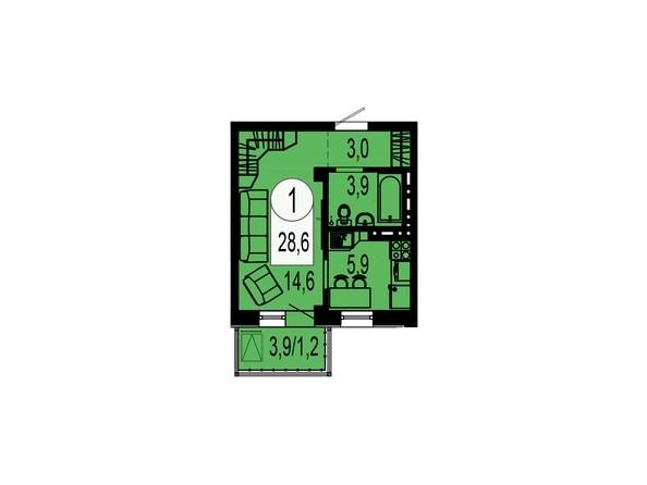 Планировка однокомнатной квартиры 28,6 кв.м