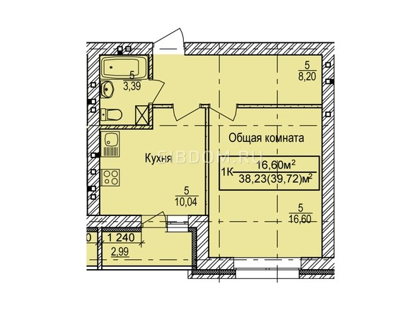 Планировка 1-комн 39,72 м²