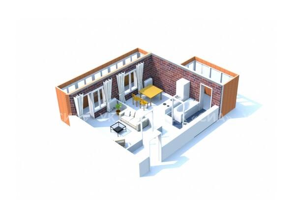 Планировки ГЛОБУС, дом 8 - 3d-макет однокомнатной квартиры 42,42 кв.м