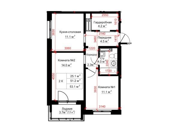 Планировки ТИТАН - Планировка однокомнатной квартиры 53,1 кв.м