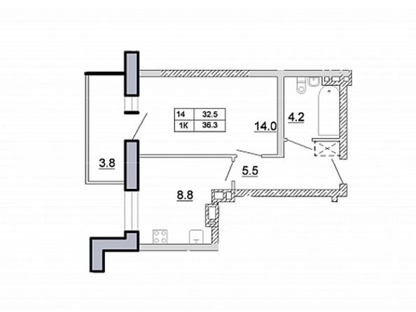 1-комнатная 36,3 кв.м