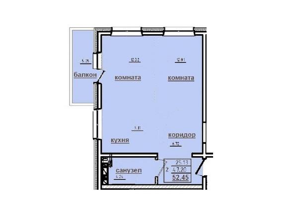 2-комнатная 52,45 кв.м