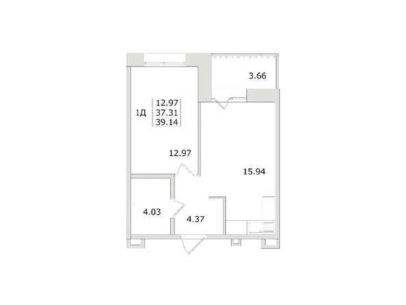 1-комнатная 39,14 кв.м