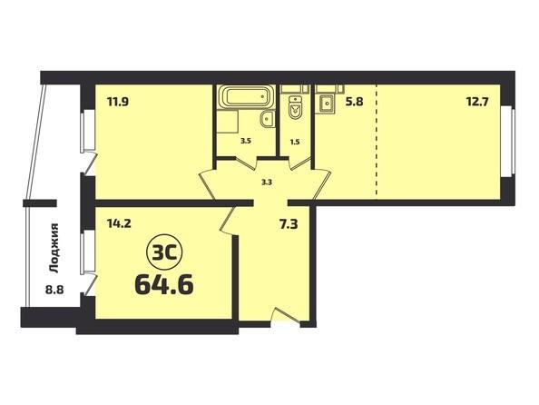 Планировка 3-комн 64,6 м²