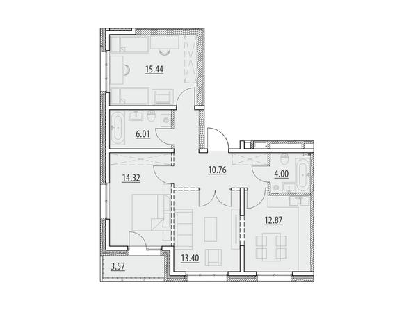 Планировка 3-комн 80,37 м²