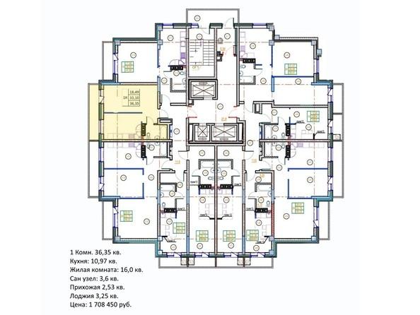 Планировки Жилой комплекс ГЛОБУС ЮГ, дом 9 - 1-комнатная 36,35 кв.м.