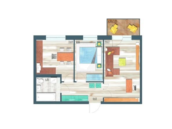 Планировки Жилой комплекс ЖИВЁМ эко-район, 3 квартал, дом 1 - Планировка двухкомнатной квартиры 53,51 кв.м