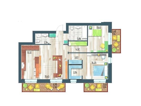 Планировки Жилой комплекс ЖИВЁМ эко-район, 5 квартал, дом 1 - Планировка двухкомнатной квартиры 88,89 кв.м