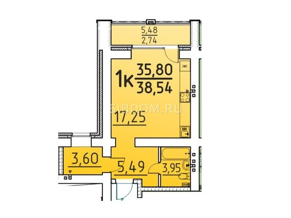 Планировка 1-комн 38,54 м²
