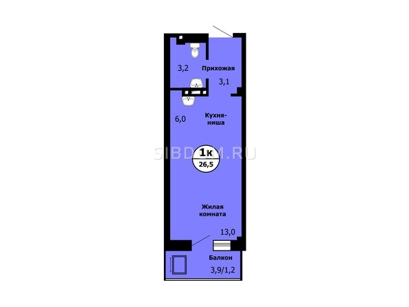 Планировка Студия 26,4 - 26,7 м²