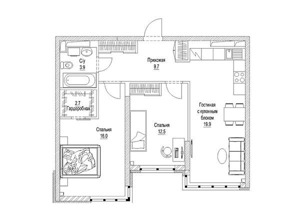 Планировка 3-комн 68,2 м²