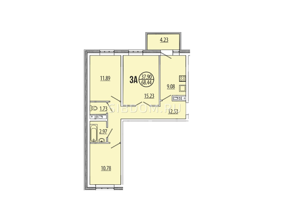 Планировка 3-комн 0 - 68,54 м²
