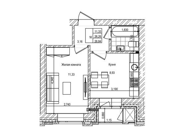 Планировка 1-комн 26,2 м²