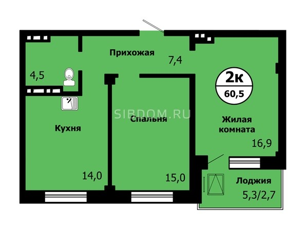 Планировка 2-комн 60,4, 60,5 м²