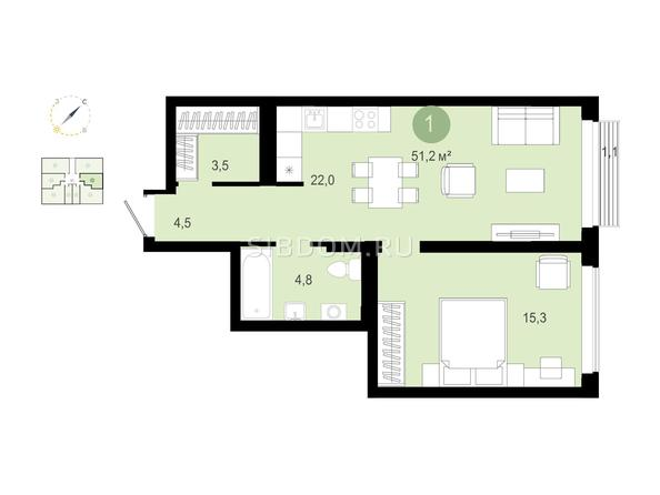 1-комнатная 51,24 кв.м