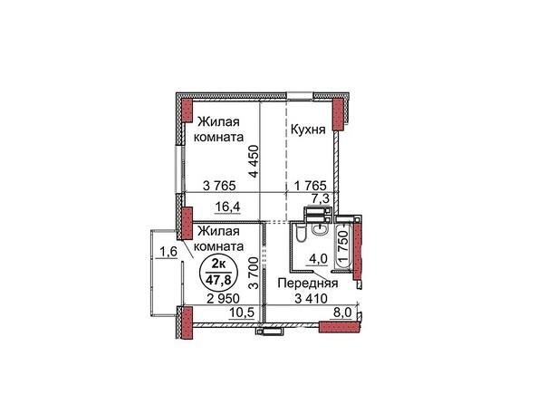 Планировки Жилой комплекс Пролетарская, 165 - Планировка двухкомнатной квартиры 47,8 кв.м