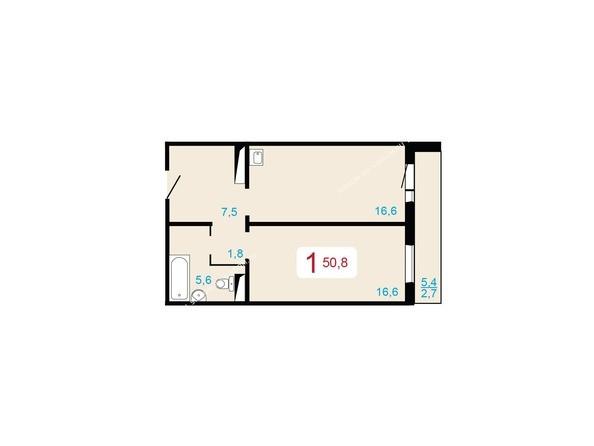 Планировки Жилой комплекс ЛЕСНОЙ МАССИВ, дом 1, стр 2 - 1-комнатная 50,8 кв.м
