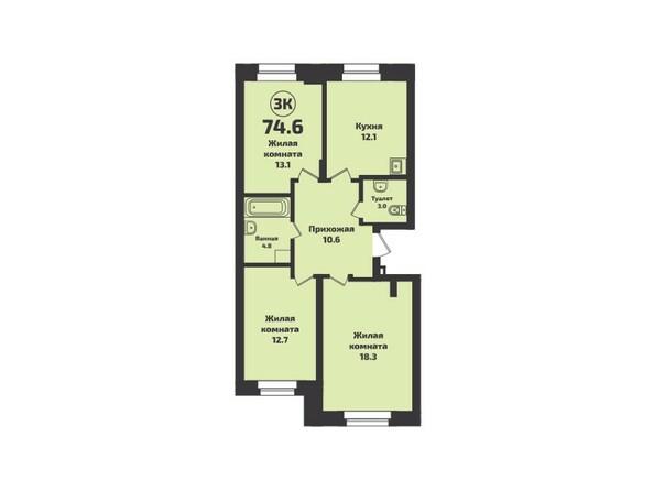 Планировка 3-комн 74,6 м²