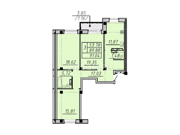 3-комнатная 91,04 кв.м