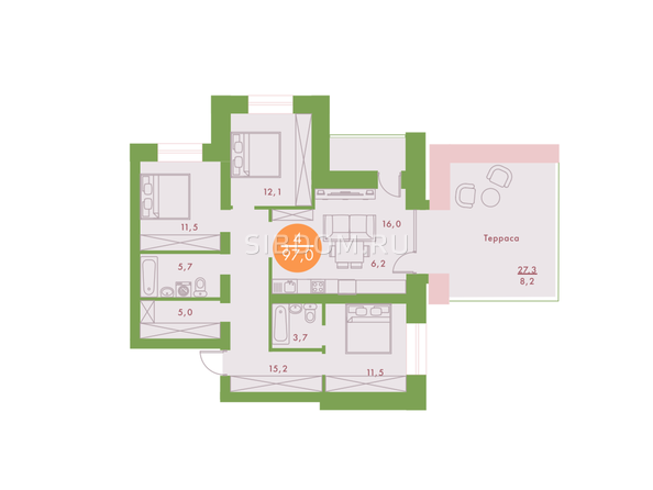 4-комнатная 97 кв.м