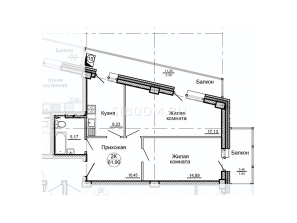 Планировки Жилой комплекс ГЛОБУС, дом 8 - Планировка двухкомнатной квартиры 61,90 кв.м